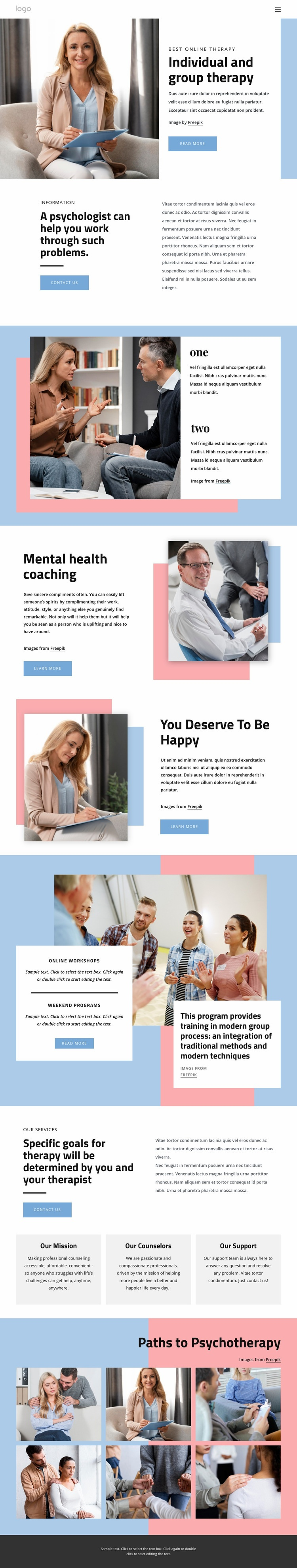 Undividual and group therapy Web Page Designer