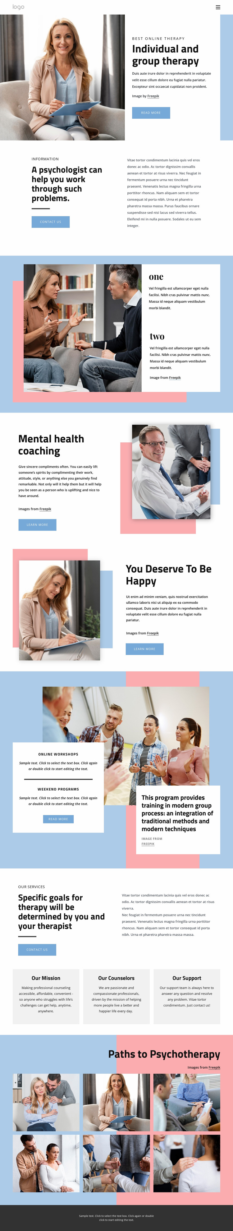 Undividual and group therapy Website Mockup