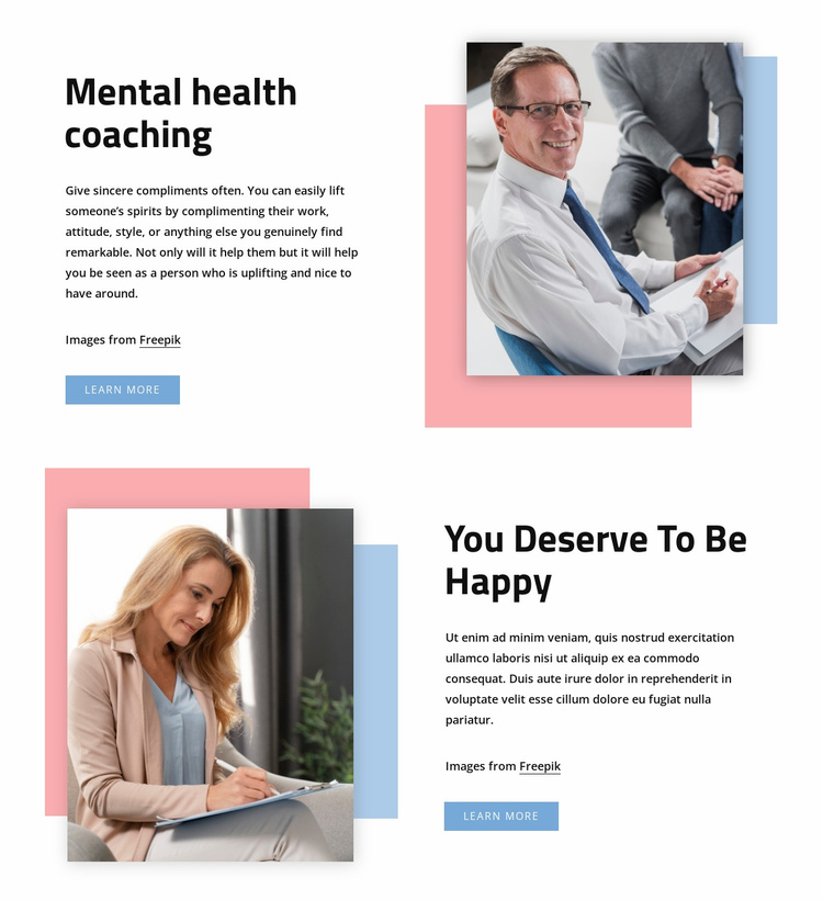 Mental health coaching Website Template