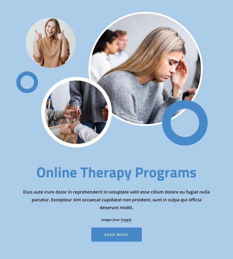 Online therapy programs Web Page Design