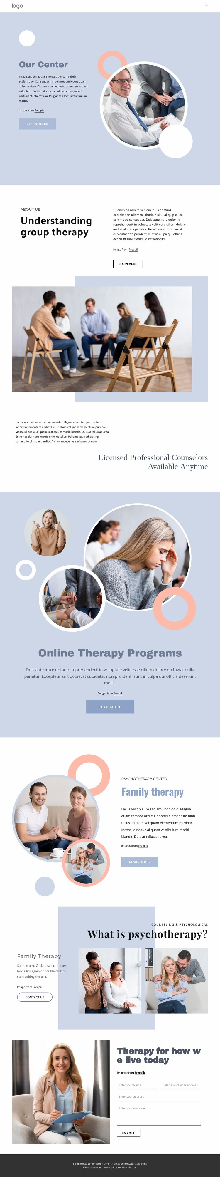 Licensed professional counselors Homepage Design