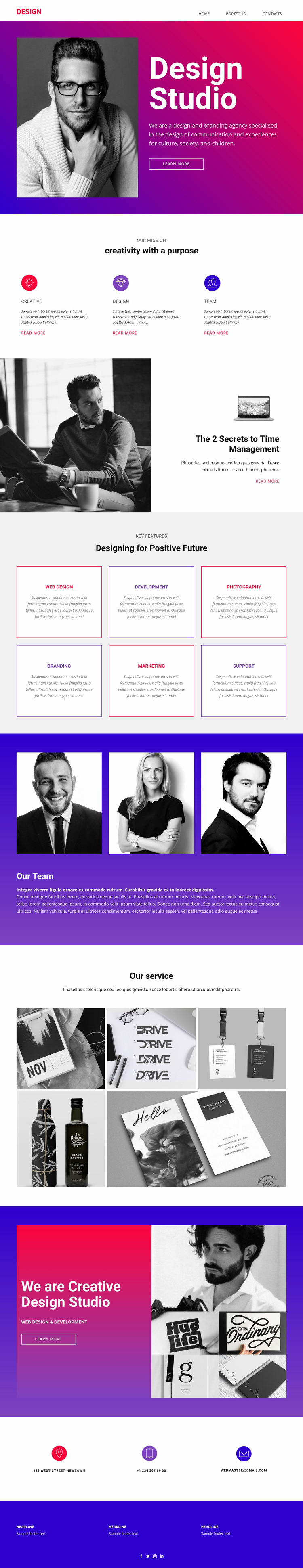 Fully integrated studio Web Page Design