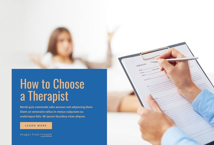 How to choose a therapist Web Page Design
