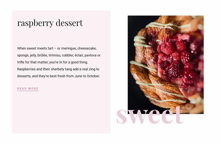 Raspberry dessert Website Mockup