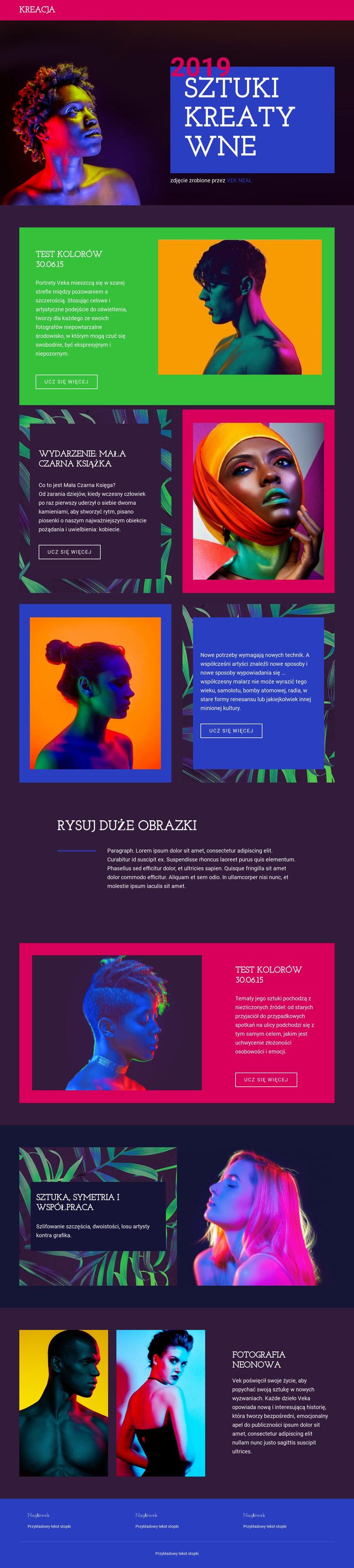 Sztuki kreatywne Szablon witryny sieci Web