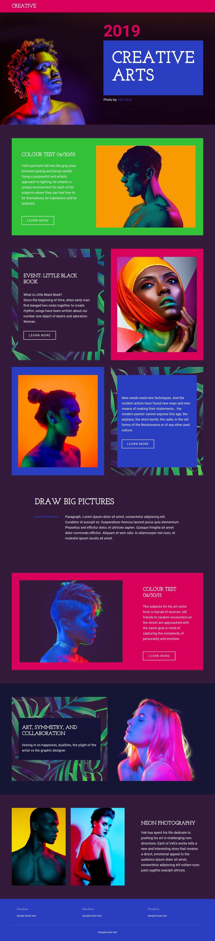 Creative Arts Website Mockup
