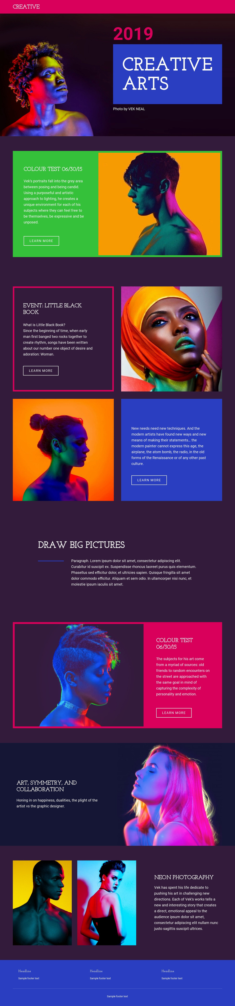 Limited-edition photography Web Page Design