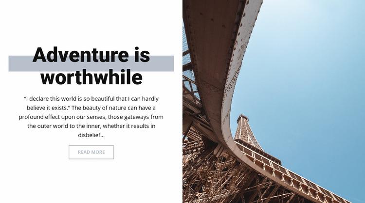 Adventure in Paris Website Mockup
