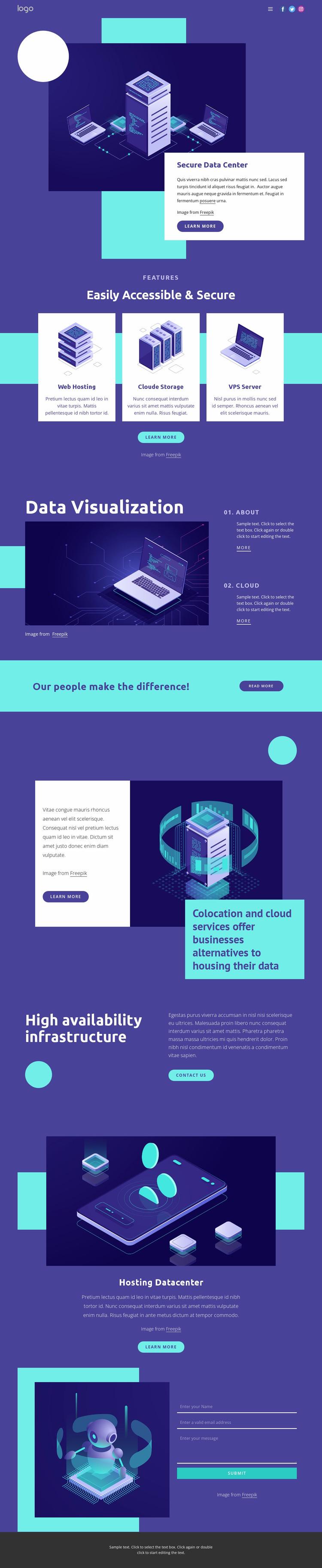 Data Center security solutions Website Mockup