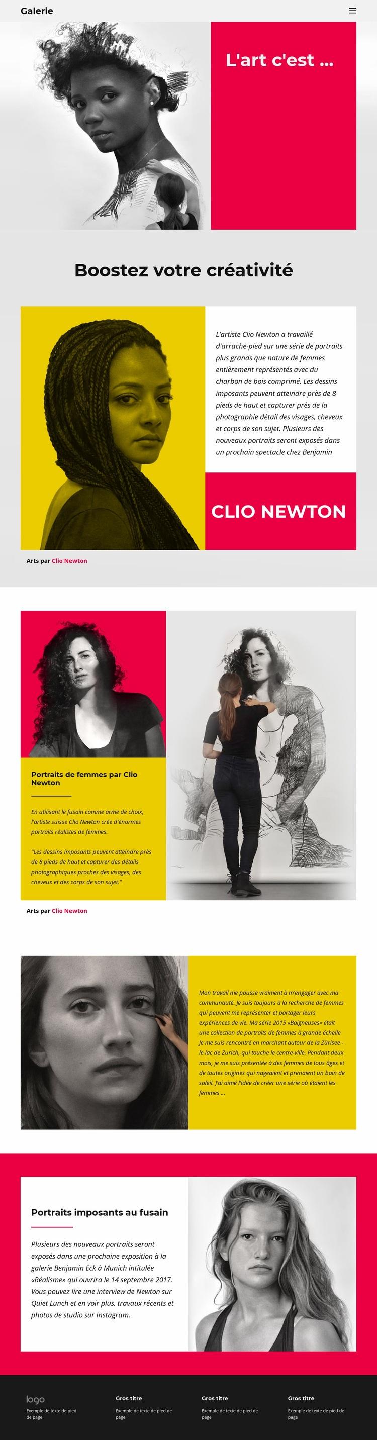 Portraits au fusain Modèle de site Web