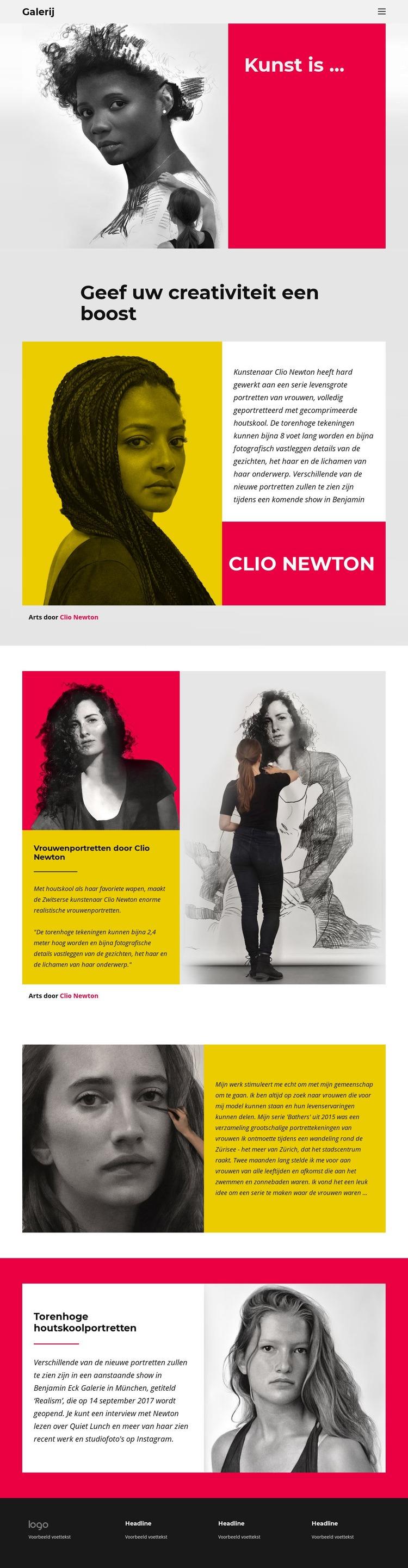 Houtskoolportretten Website sjabloon