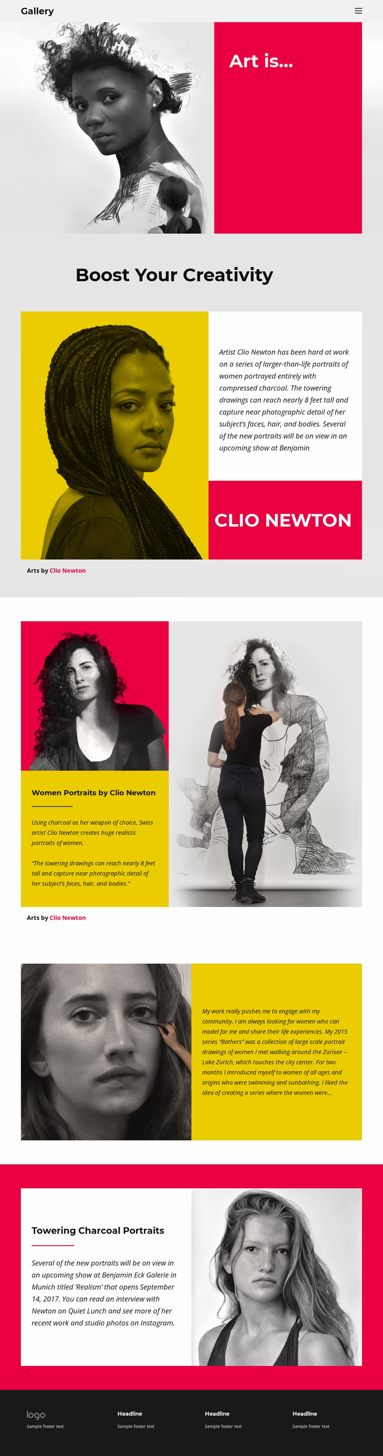 Drawing charcoal portraits Website Template