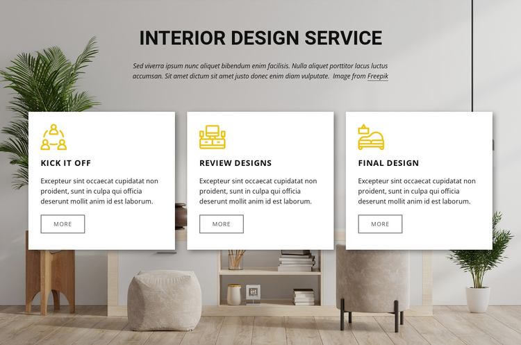 Interior design services One Page Template