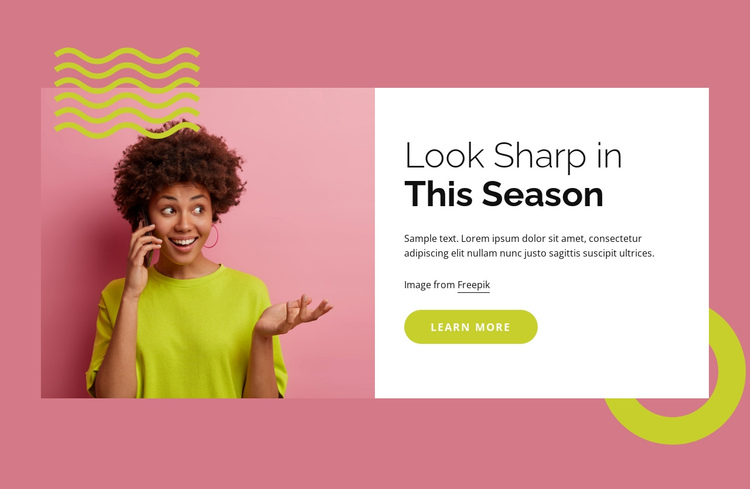 Look sharp in this season One Page Template