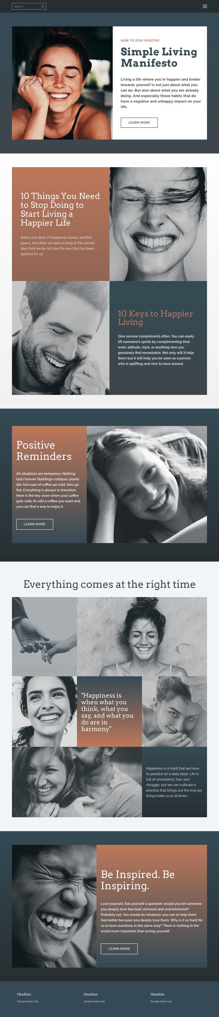 Simple living manifesto Web Design