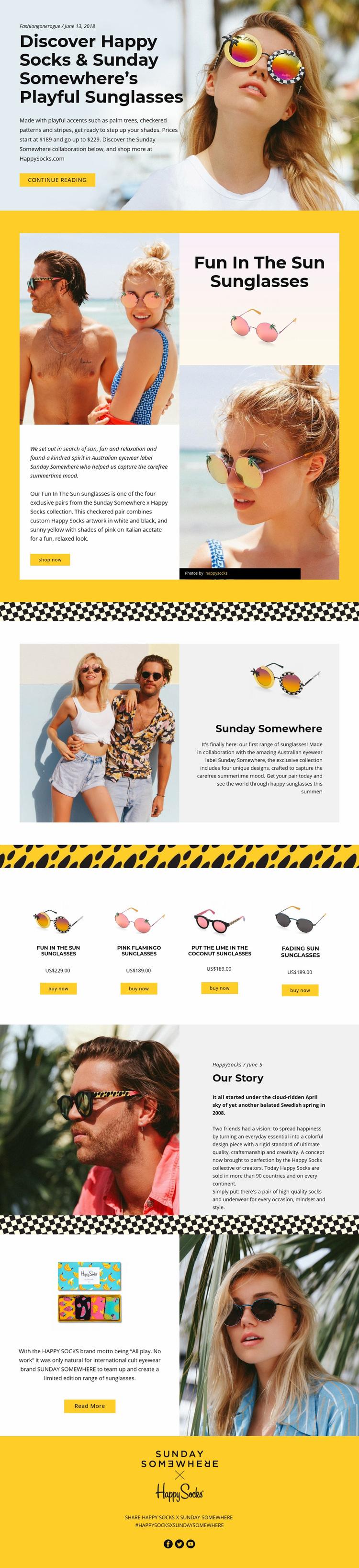 Fun Sunglasses Web Page Designer