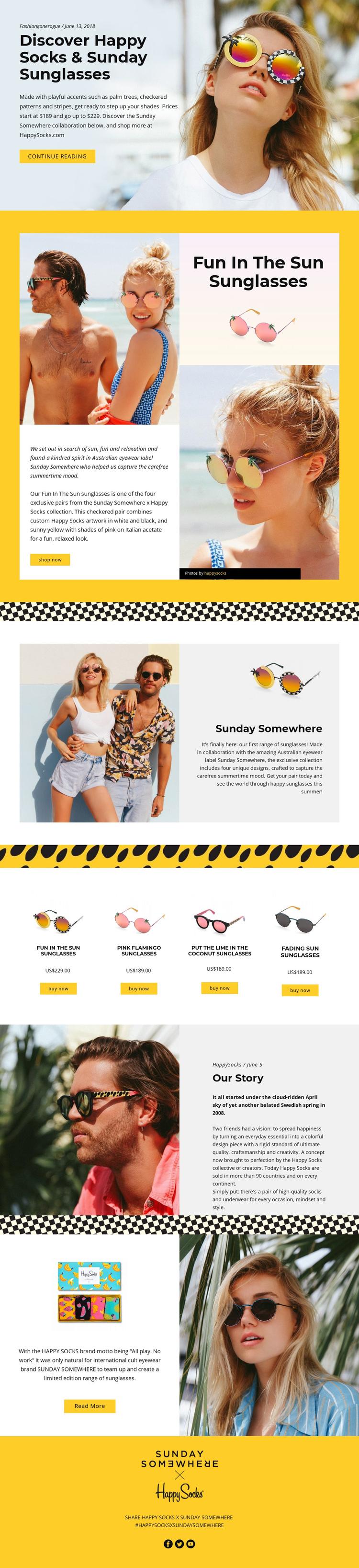 Fun Sunglasses Website Builder Software