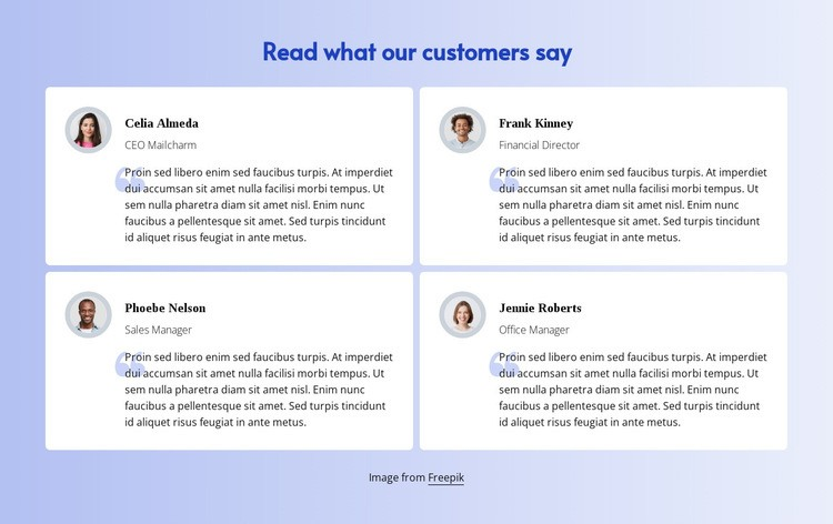 Read what customers say Homepage Design