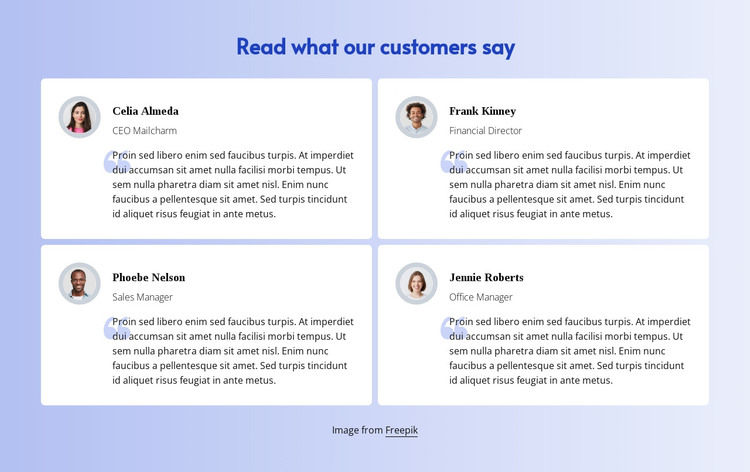 Read what customers say HTML Template