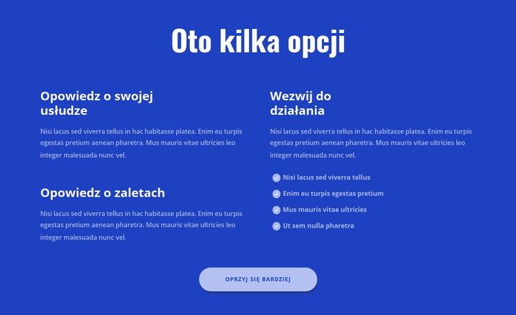 Oto kilka opcji Szablon witryny sieci Web