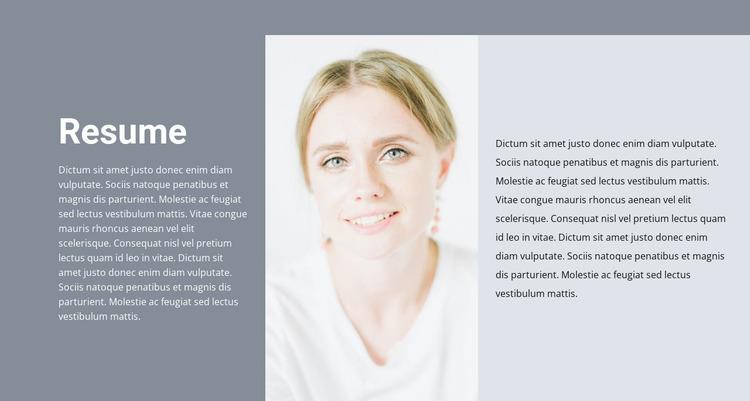Cosmetologist's resume Website Mockup