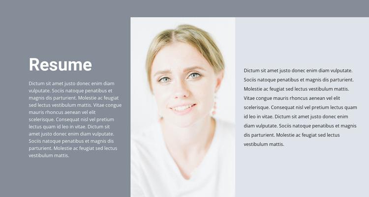 Cosmetologist's resume WordPress Website Builder