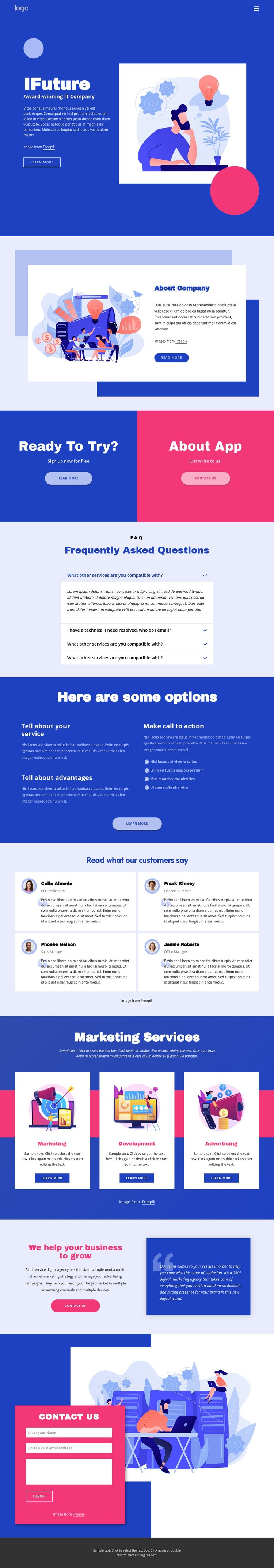 IT solutions and marketing Web Page Design