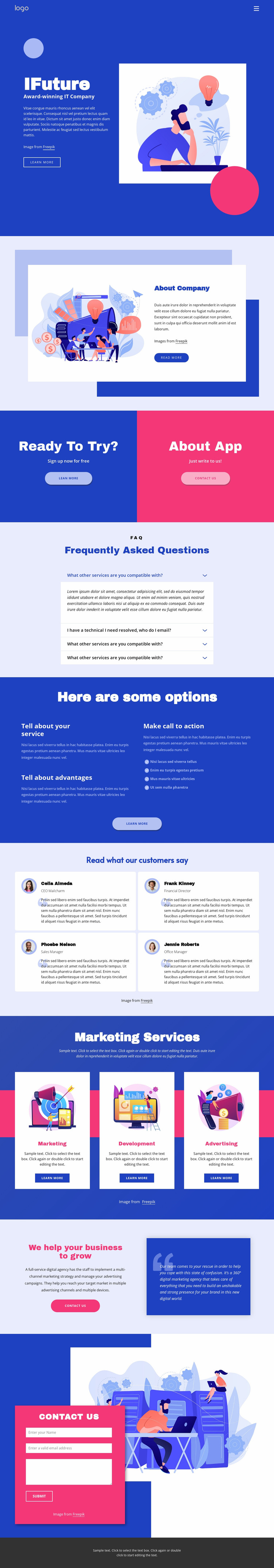 IT solutions and marketing Website Mockup