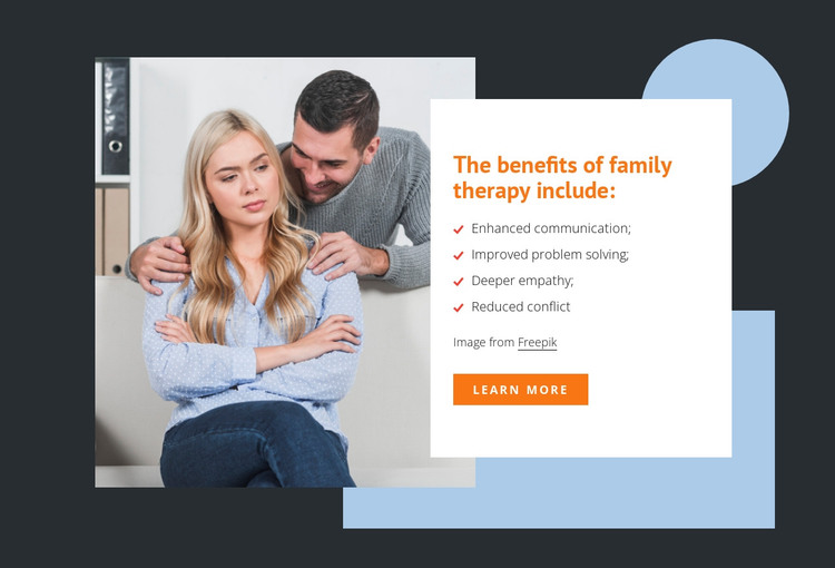The benefits of family therapy HTML Template