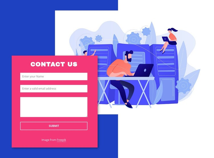 Contact form with image and shape Web Page Design