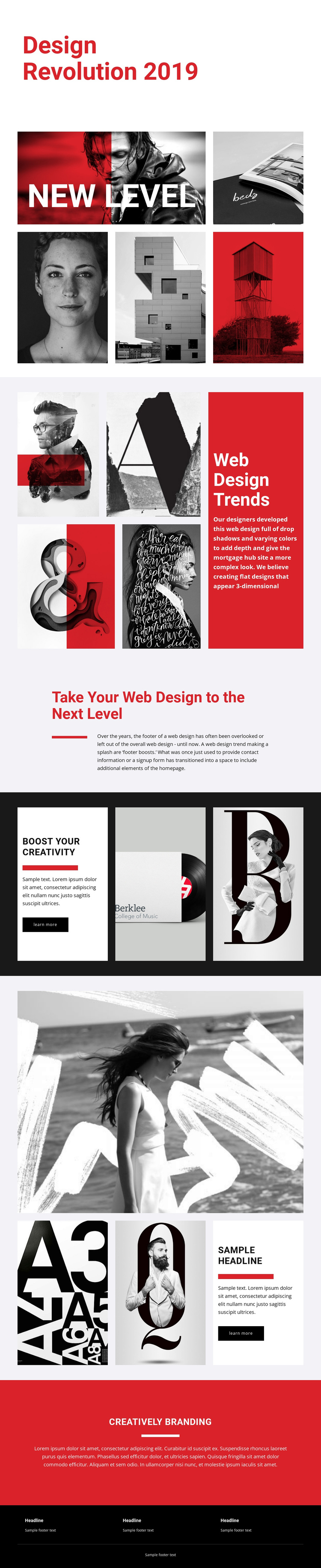 Revolution of designing art One Page Template