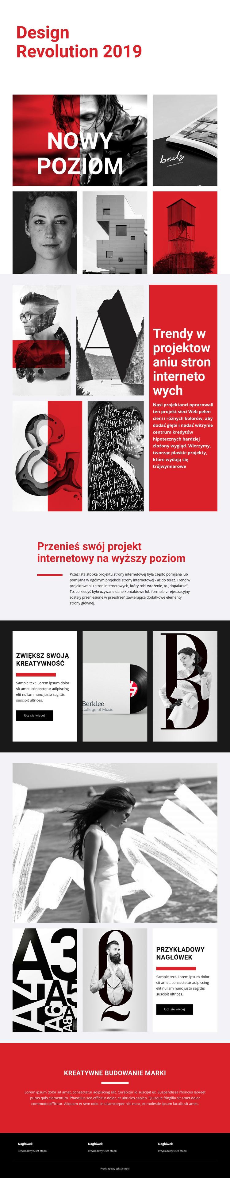 Rewolucja w projektowaniu sztuki Szablon witryny sieci Web