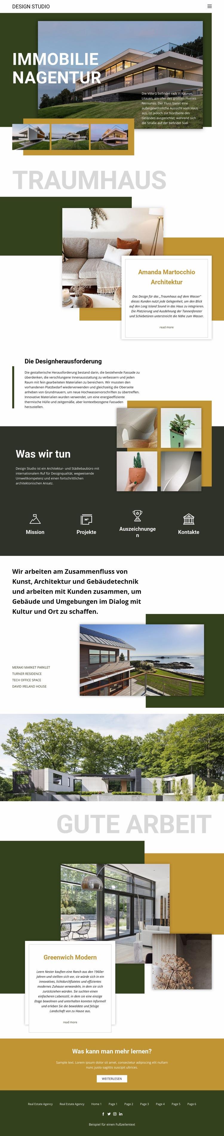 Traum Immobilienagentur Website-Modell