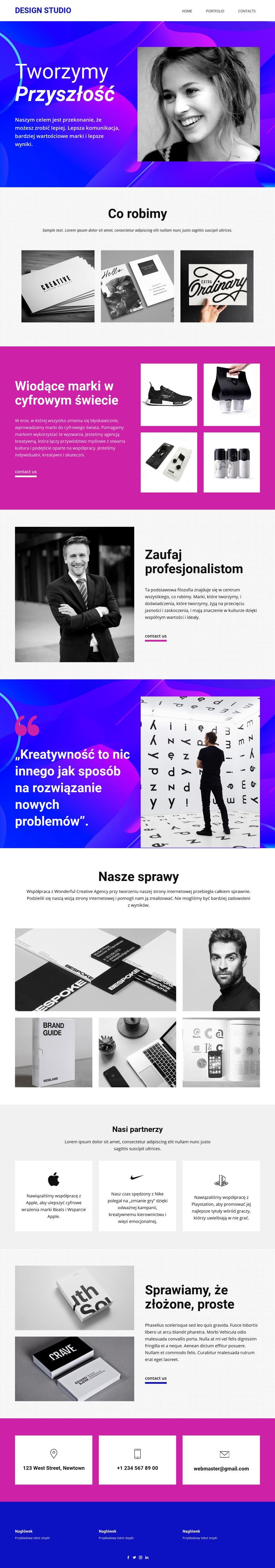 Sztuka i projektowanie progresywne Szablon witryny sieci Web