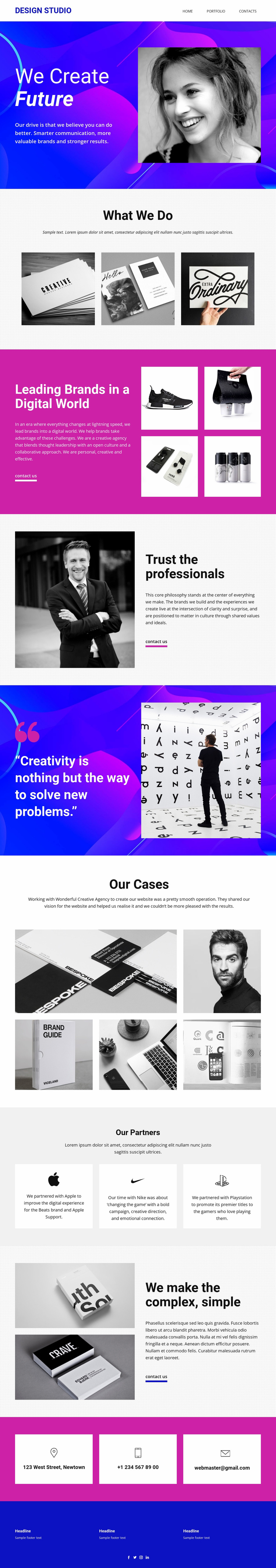 Progressive art and design Landing Page