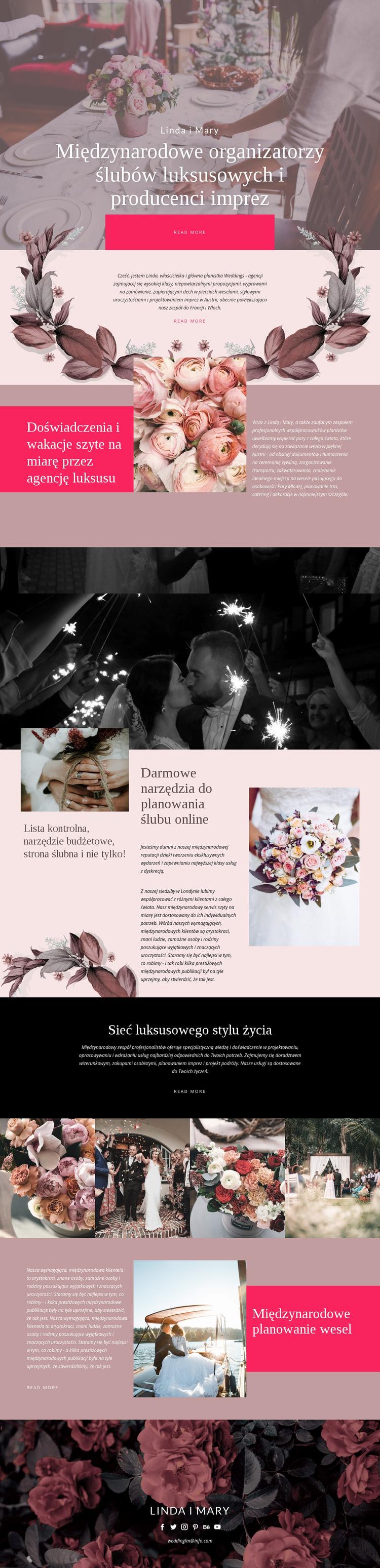 Producenci luksusowych ślubów Szablon witryny sieci Web
