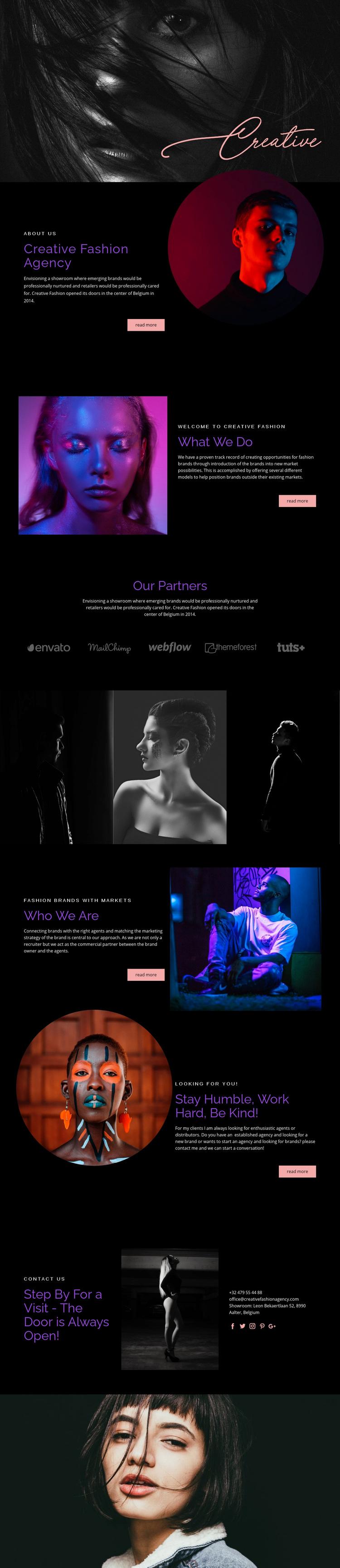 Creative Fashion Agency Web Page Designer