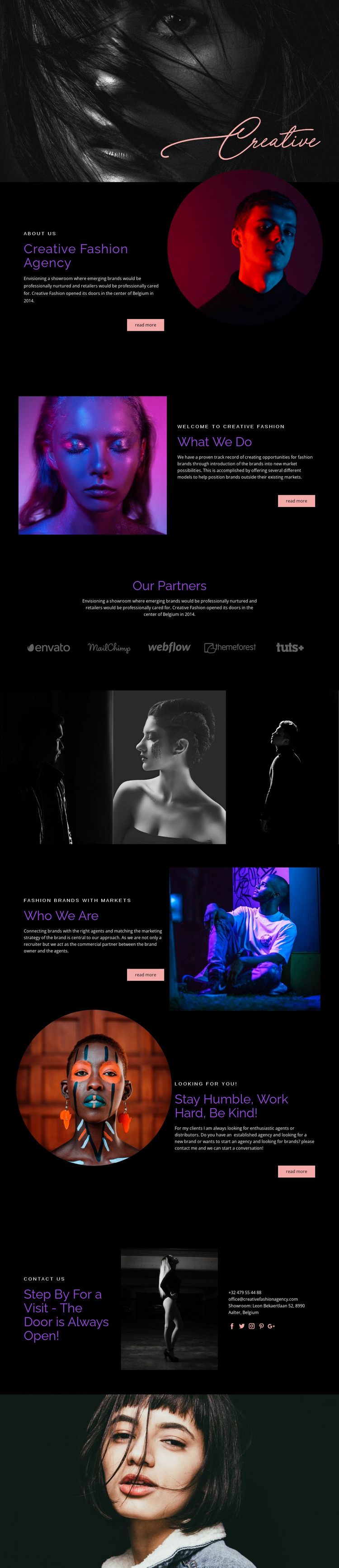 Creative Fashion Agency Website Mockup