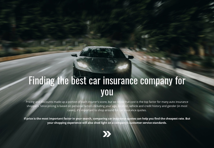 Insurance for your car Joomla Page Builder