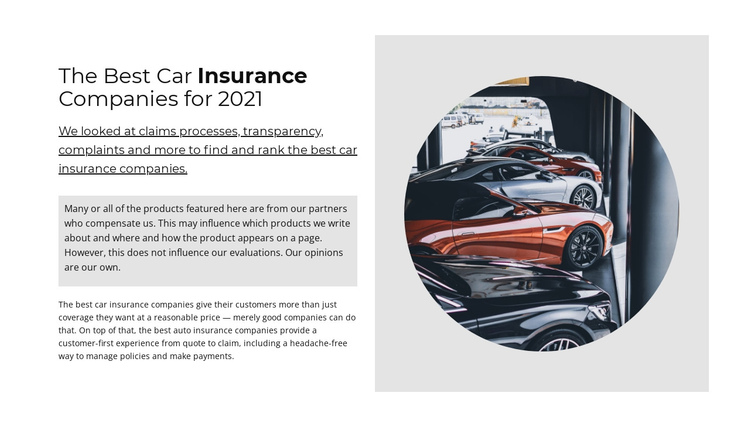 Best car insurance One Page Template