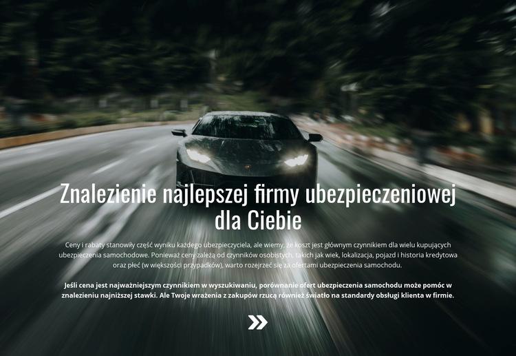Ubezpieczenie Twojego samochodu Szablon witryny sieci Web