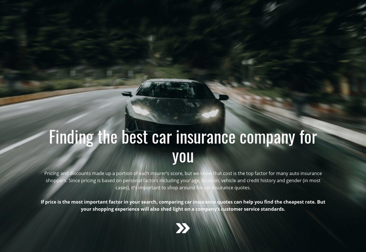 Insurance for your car Web Page Design