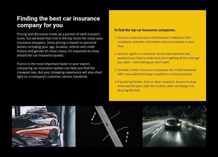 Car insurance Web Page Design