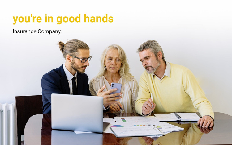 You are in good hands Website Mockup