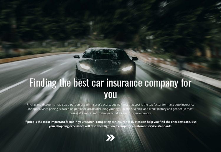 Insurance for your car Landing Page