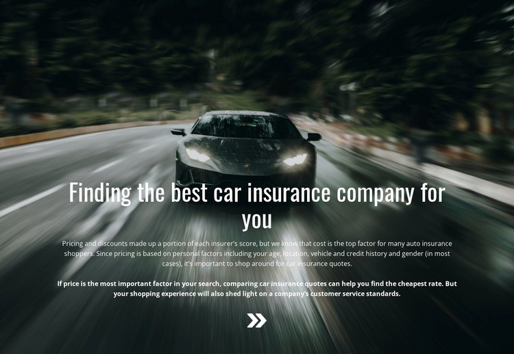 Insurance for your car WordPress Website Builder