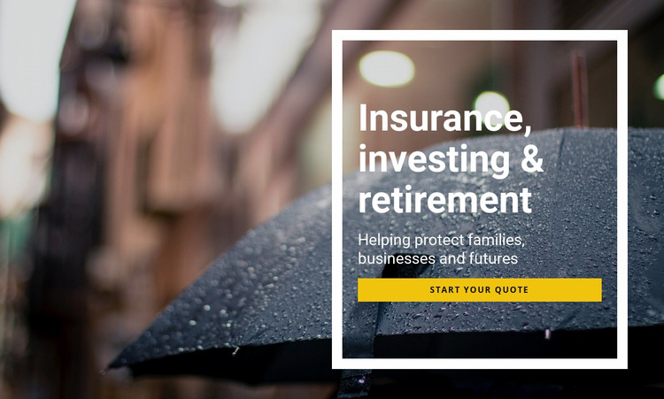 Insurance investing and retirement Html Website Builder