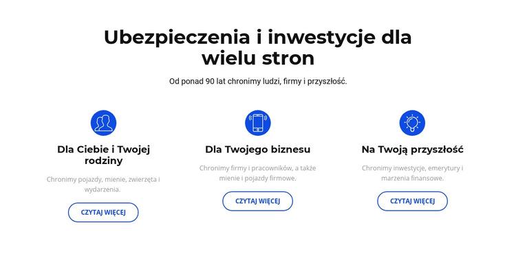 Ubezpieczenia i inwestycje Szablon witryny sieci Web