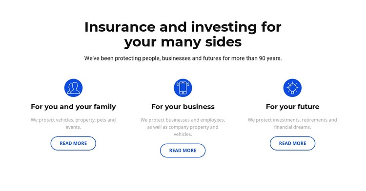 Insurance and investment Web Page Design
