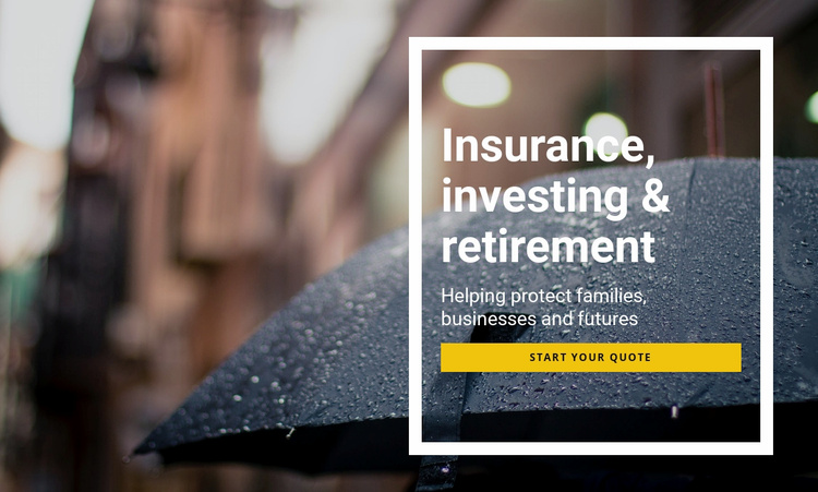 Insurance investing and retirement Landing Page
